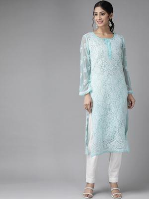 Ada Hand Embroidered Blue Faux Georgette Lucknow Chikankari Kurti