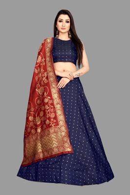 Blue zari woven  jacquard semi stitched lehenga