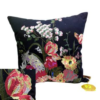 Embroidered Black Floral Cushion Cover