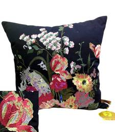 Buy Embroidered Black Floral Cushion Cover cushion-cover online