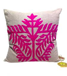 Pink Leaf Patterned Embroidered Cushion Cover