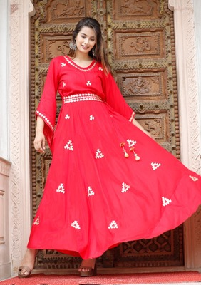 Attractive Woman Rayon Gown