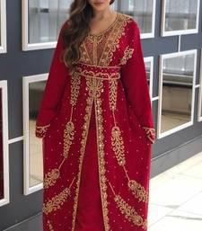 Maroon  Zari Stone Work Georgette Islamic Style Beads Embedded Partywear Kaftan Long Gown Evening wear Dubai kaftan