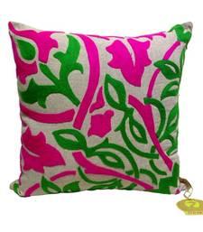 Fuchsia & Green Bold Embroidered Cushion Cover
