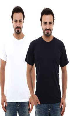 Multicolor plain cotton men-tshirts in White, Navy Blue