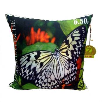 Digital Butterfly Print Black Cushion Cover