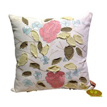 Embroidered Leaves Cushion Cover In Pink And White
