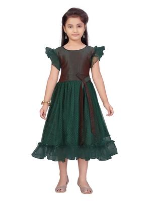 Green hand woven net kids-frocks