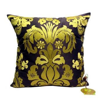 Golden Damask Patterned Cushion Cover