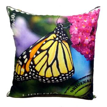 Digital Butterfly Print Pink And Blue Cushion Cover