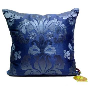 Blue Damask Patterned Cushion Cover