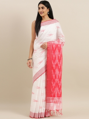 CLASSICATE from the house of The Chennai Silks Off-White Ikat Design Pure Linen Saree With Running Blouse