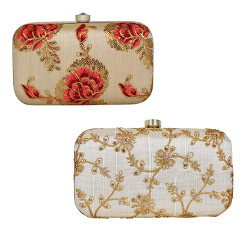 WORTHYY ENTERPRISES TULLE EMBROIDERED FAUX SILK CLUTCH NATURAL & MULTI (COMBO PACK- 2)