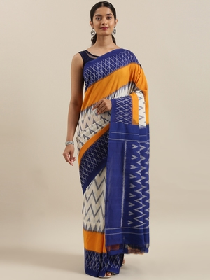 CLASSICATE from the house of The Chennai Silks Off-White Ikat Pochampally Pure Cotton Saree With Running Blouse