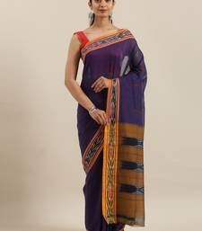 CLASSICATE from the house of The Chennai Silks Violet Ikat Pochampally Pure Cotton Saree With Running Blouse