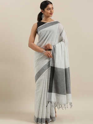CLASSICATE from the house of The Chennai Silks Off-White Kanchi Pure Cotton Saree With Running Blouse
