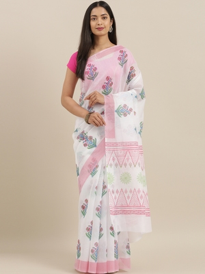 CLASSICATE from the house of The Chennai Silks Off-White Venkatagiri Pure Cotton Saree