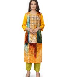 Latest yellow crepe kurti