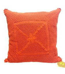 Crochet Patterned Orange Cushion Cover