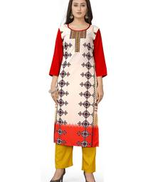 Latest cream crepe kurti