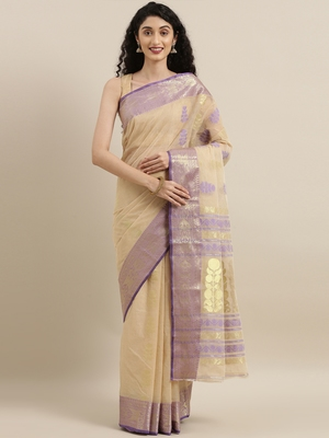 CLASSICATE from the house of The Chennai Silks Beige Bengal Tant Pure Cotton Saree Without Blouse