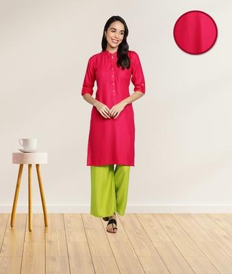 Rayon Solid Plain Straight Kurti (Pink)