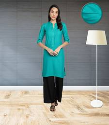Rayon Solid Plain Straight Kurti (Turquoise)