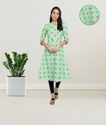 Pure Cotton Printed Flared Women Kurti (Sea Green)