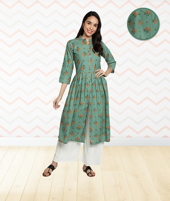 Cotton Floral Printed Flared & Front Slit Women Kurti (Sea Green)