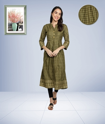 Gold Foil Checks Printed Anarkali Rayon Women Kurti (Olive Green)