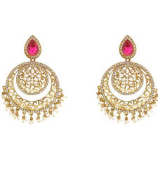 Buy stylish pink Designer Earring danglers-drop online