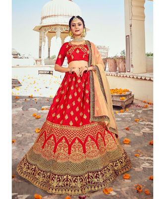 Red Heavy Zari Embroidred & Fancy Daimond Work silk & Satin  Lehenga Choli with Blouse and Dupatta