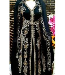 Black Zari Stone Work Georgette Islamic Style Beads Embedded Partywear Kaftan Evening wear Dubai kaftan Abaya Jilbab