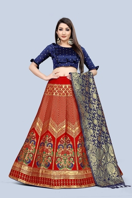 Mameraa Red Jacquard Silk Semi-stitched Lehenga Choli