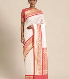 White & Red Lichi Silk Woven Saree