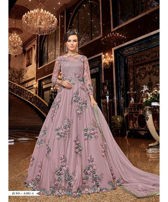 Embroidered With Stone Work Net Gown for Women Semi-Stitched