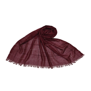 Square Box Checkered Cotton Grid Hijab- Maroon - Size - 75/185 CM