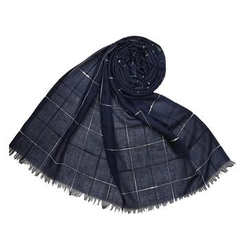 Square Box Checkered Cotton Grid Hijab - Royal Blue - Size - 75/185 CM