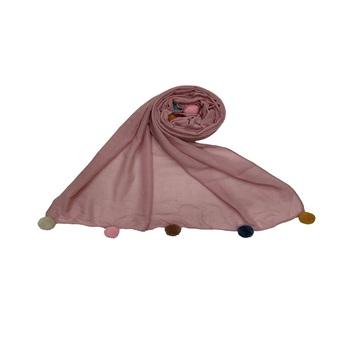 Cotton Stole With Colourful Fringe's - Purple - Size - 75/185 CM