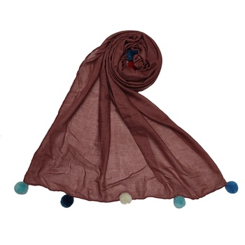 Cotton Stole With Colourful Fringe's - Light Maroon - Size - 75/185 CM