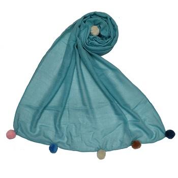 Cotton Stole With Colourful Fringe's - Blue - Size - 75/185 CM