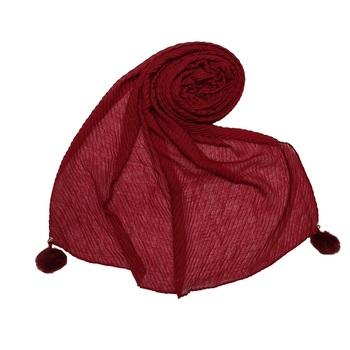 Cotton Crush Hijab With Fringe's - Maroon - Size - 75/185 CM