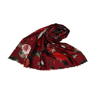 Cotton Printed Stole - Maroon - Size - 75/185 CM