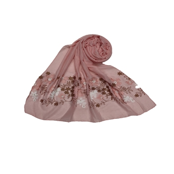 Self Emboidered  Flower Hijab - Pink - Size - 75/185 CM
