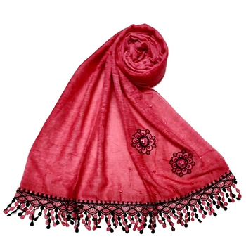 Cotton  Flower Hijab With Heavy Border and Fringe's - Maroon - Size - 75/185 CM