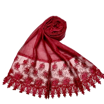 Cotton Heavy Net Lace With Work On Border and Net - Maroon - Size - 75/185 CM