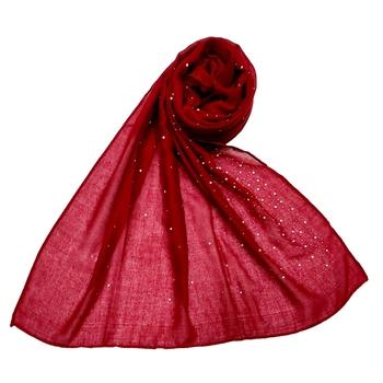 Cotton Dew Drop Hijab - Maroon - Size - 75/185 CM