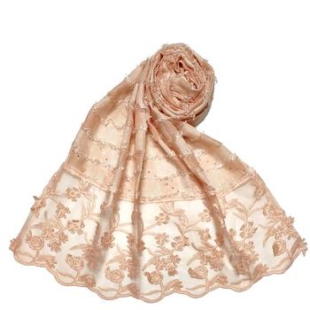 Flower Work Emboidered Hijab - Light Orange - Size - 75/185 CM