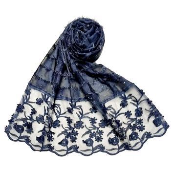Flower Work Hijab - Blue - Size - 75/185 CM