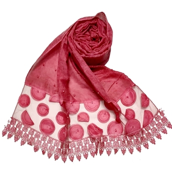 Round  Circular Balls On The Net With Moti Studed and Uniquely Styled Border - Maroon - Size - 75/185 CM